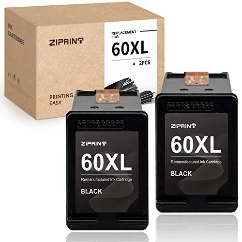 ZIPRINT Remanufactured Ink Cartridge Replacement for HP 60 XL 60XL CC641WN for HP Photosmart C4680 D110a Deskjet D2680 F4210 F2430 D2530 D1660 D2660 Envy 120 111 Printer (2 Black)