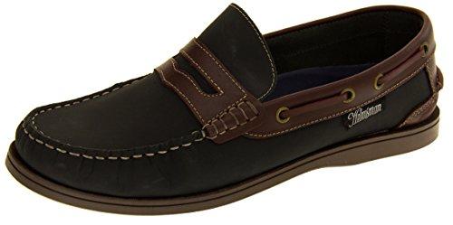 Helmsman 72015 Hombre Cuero Zapatos de la Cubierta Mocasines Azul marino y Redwood
