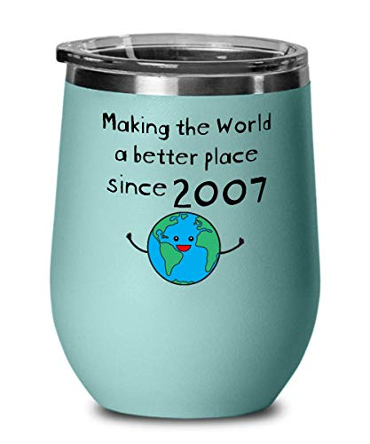 (Making the World a Better Place Since 2007 Wine Tumbler - 12th Birthday Gifts for Women - Present for 12 Year Old Men - Girls Boys Kids - Wine Glass)