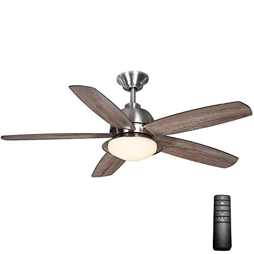 Home Decorators Collection Ackerly 52 in. LED Indoor/Outdoor Brushed Nickel Ceiling Fan with Light Kit and Remote - Fan Light Outdoor Kits Ceiling