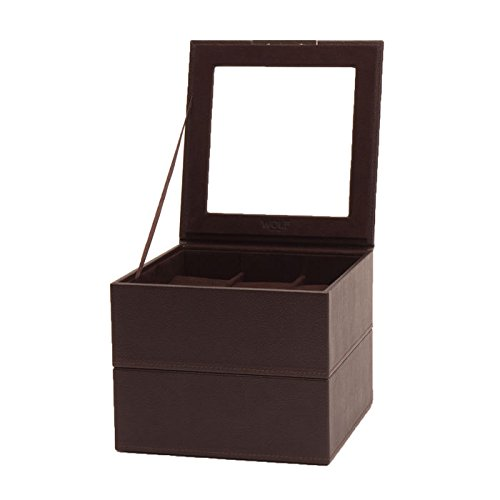WOLF 319606 Stackable Set of 2- 6 Piece Watch Trays, Brown
