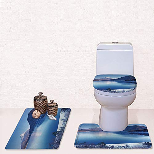 3 Piece Soft Bathroom Rug Set Includes Bath Mat, Contour Rug ,Lid Cover,Fuji Mountain in Winter Season Snowy Hills and Mountain Top Japan Photography Print with ,decorate bathroom,entrance door,kitch ()