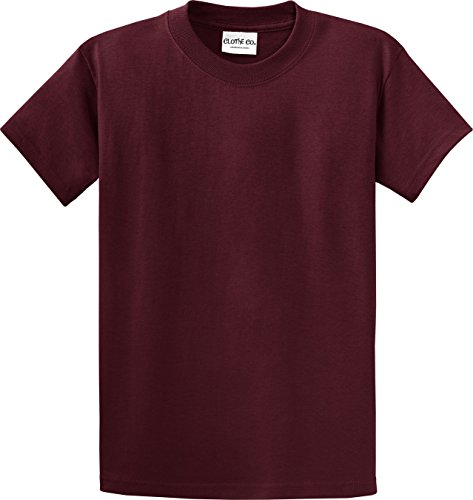 (Clothe Co. Youth Heavyweight 100% Cotton Short Sleeve T-Shirt, Athletic Maroon, XL)