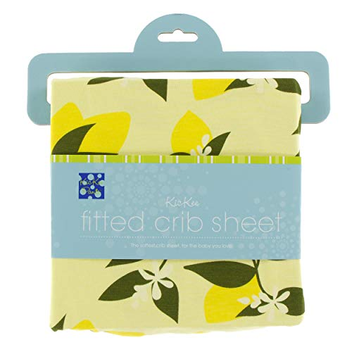 - KicKee Pants Little Girls Print Fitted Crib Sheet - Lime Blossom Lemon Tree, One Size