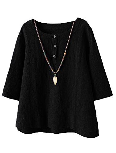 Vogstyle Mujer 2017 Nuevas Túnicas de Lino de Algodón Camiseta Jacquard Tops CY011 negro