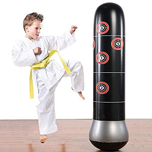 YYIJ Freestanding Inflatable Punching Bag with Air Pump Set 63inch PVC Portable Boxing Bag for Kids Fitness Karate…