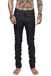 TheMogan Men's DOKFACE 5 Pocket Raw Rinced Denim Slim Skinny Jeans Indigo 30