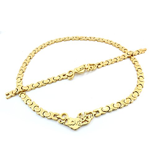 I LOVE YOU GOLD TONE HUGS AND KISSES NECKLACE AND BRACELET SET XOXO 20