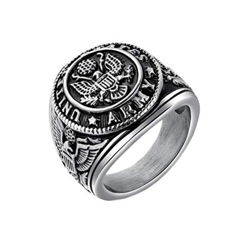 Ring Army Silver - PAMTIER Men's Stainless Steel US Army Vintage Eagle Ring Cool Biker Jewelry Silver Size 7