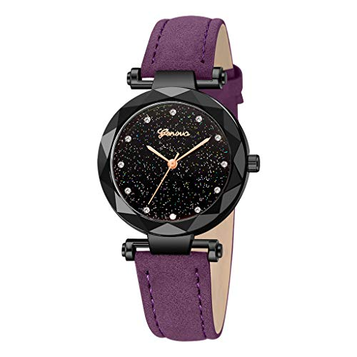 (ErYao Geneva Women Leather Band Stainless Steel Quartz Analog Wrist Watch (H))