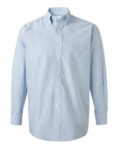 Van Heusen - Long Sleeve Oxford Shirt - 13V0040 - Blue Stripe - Large