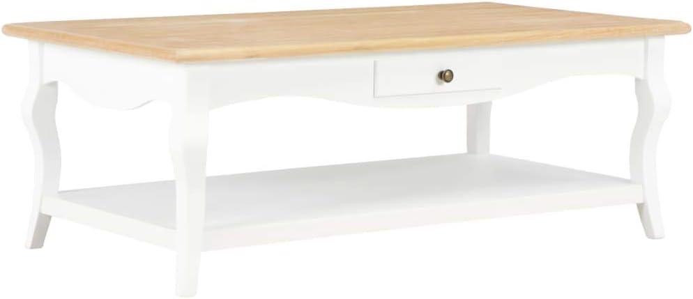 Ontwerper vidaXL Salontafel MDF Wit Tafel Salonmeubel Woonkamertafel Bijzettafel Salon wit en natuurlijke houtkleur 4wLUd1D