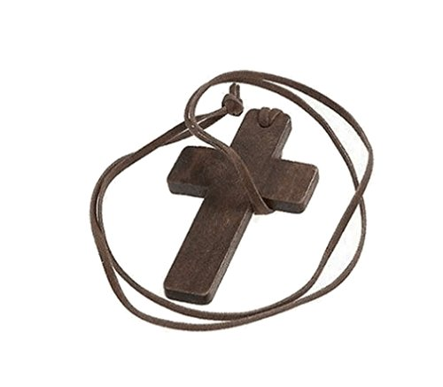 Wood Womens Sweater (Charm wood necklace brown long latin Cross pendant sweater chain for men and women)