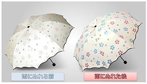 Yukiss折り畳み傘レディースかわいいぬれると柄が浮き出る傘丈夫な耐風仕様晴雨兼用ホワイト(ホワイト)