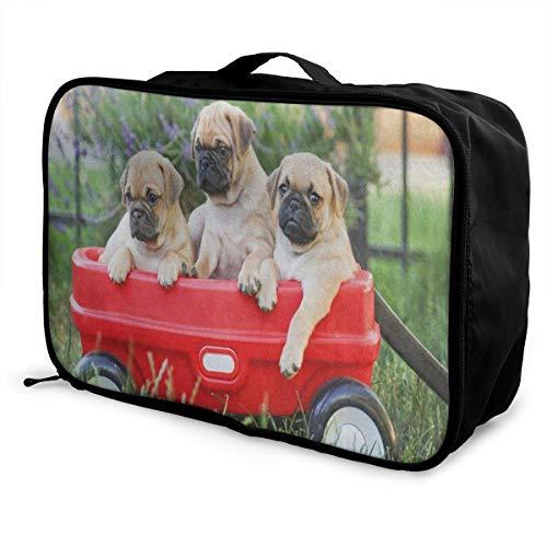 Travel Bags Red Car Pug Dog Portable Foldable Trolley Handle Luggage Bag
