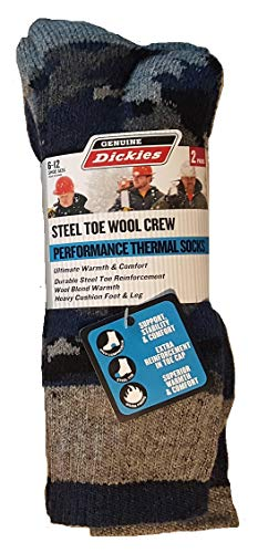 - Dickies 2-Pair Men's Steel Toe Wool Crew Performance Thermal Socks 6-12 - Grey Camo Assortment