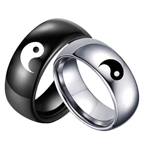 Stainless Steel Black Yin Yang Tai Chi Ring Band for Men/Best Friend//Boyfriend (His Size -