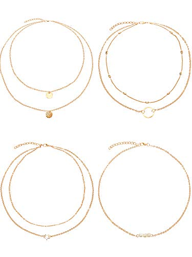 BBTO 4 Pieces Layered Pendant Choker Necklace Gold Layering Chain Choker for Women Girls (Style C)