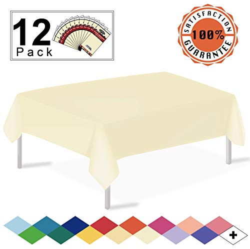 12 Pack Plastic Tablecloth Ivory Disposable Table Covers Premium 54 x 108 Inches Table Cloth for Rectangle Tables up to 8 Feet and for Picnic Birthdays Weddings any Events Occasions, PEVA Material