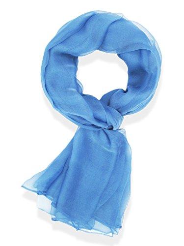 V28® Womens Multi Radient Colors 100% Pure Silk Scarf (41 x 69 inches, PureLT-Blue) (Silk Chiffon Scarf)