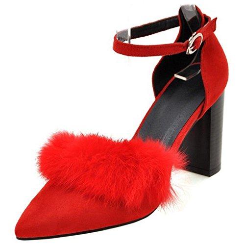 COOLCEPT Mujer Moda Puntiagudo D' Orsay Tacon Ancho Tacon alto Bombas Zapatos Sandalias Rojo