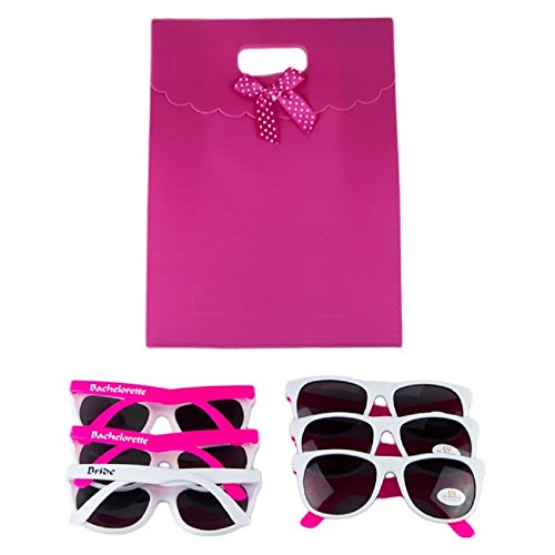 Set of 6 Fun Sexy Party Sunglasses for Bride Bachelorette Wedding Parties - UV400 Lenses Provide 100% UVA and UVB Protection (Hot Pink and White). Includes Hot Pink gift bag. (Custom Bachelorette Sunglasses)