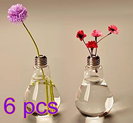 Cdet 6X Bombilla florero de vidrio floreros de terrario lindas macetas de vidrio de sobremesa moderno