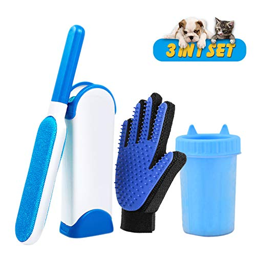 Pet Hair Remover Brush-Pet Grooming Glove-Pet Paw Cleaner,3 in 1 Pet Clean Kit Pet Fur Remover for Cat Dog Horse with Long Shot Fur Animal