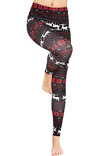 Uaderize Soft Leggings for Women Black Christmas Legging Pants Plus Size 2XL ...