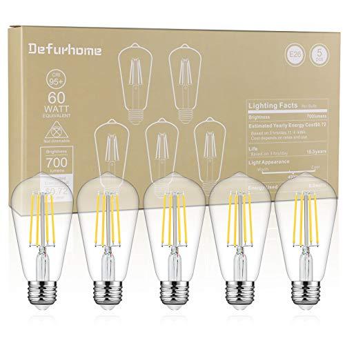 Defurhome LED Edison Bulbs 60W Equivalent, Daylight White 4000K, High 95+ CRI Eye Protection LED Bulb, ST58 LED Filament Light Bulbs, Antique Style Lighting, Non Dimmable, E26 Medium Base - Pack of 5