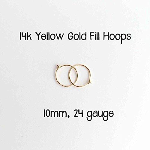 Little Hoop Earrings. 14k Yellow Gold Fill Hoops. 10mm, 24 gauge Made by (14k Gold Small Hoop Earrings)