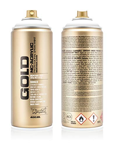 Gold Montana Paint - Montana Cans MXG-S9120 Montana Gold 400 ml Color, Shock White Pure Spray Paint,