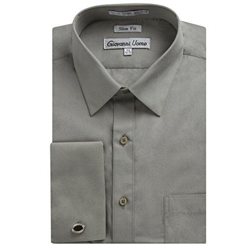Gentlemens Collection Men's 1921 Slim Fit French Cuff Dress Shirt ,Smoke Grey,14.5