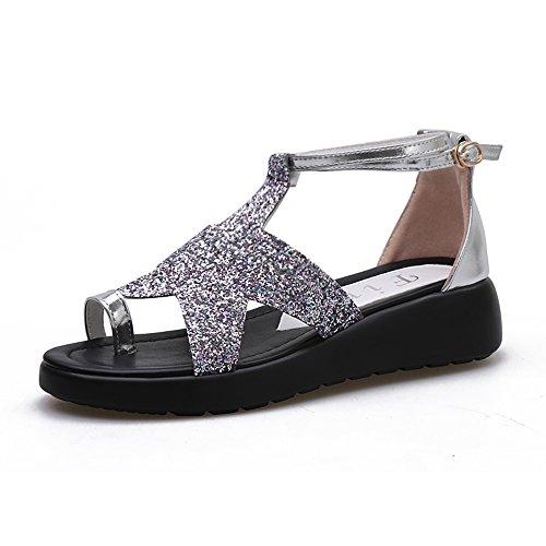 plata Femenino púrpura De Zapatos 4cm Sandalias Playa Tamaño Haizhen La cn36 Planos Eu36 Mujeres Purple Mujer Del Las uk4 azul color Plata Para Verano 6vwFOx