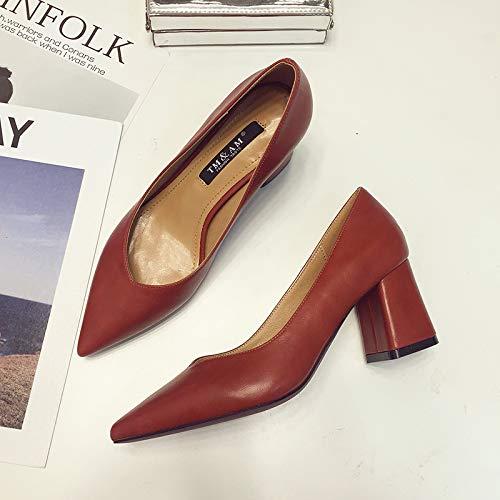 Yukun zapatos de tacón alto Sandalias De Aire Baotou De Otoño Baotou PU Femenino Palabra Hebilla De Zapatos Individuales Femenino De Espesor con Tacones De Color Rojo Puntiagudo, 35, Blanco Red Wine