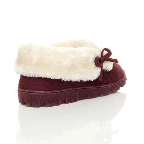 Damen Winter Pelz Gefüttert Luxuriöses Geschenk Bequem Flach Schuhen Hausschuhe Größe Dunkelrot