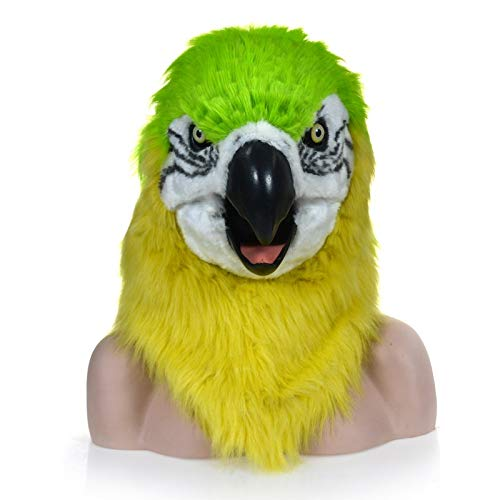 Meipa Time Fur Parrot Head Costume Party Parrot Headgear for Halloween Fashion Function Mouth Moving Furry Mask Green Parrot Animal Head Mask (Color : Green, Size : 2525) -