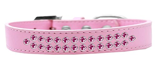 Mirage Pet Products Two Row Bright Pink Crystal Light Pink Dog Collar, Size 20 by Mirage Pet Products