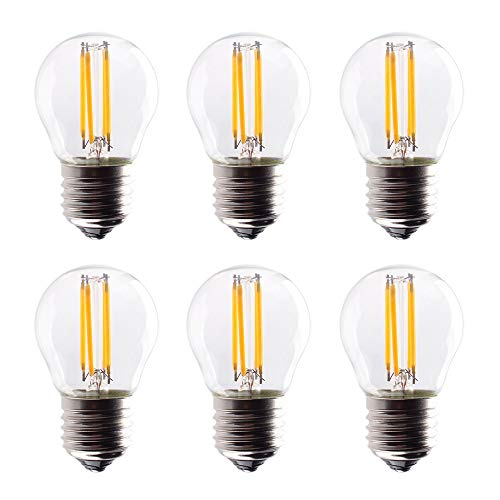 (OPALRAY A15 LED Bulb, 4W Dimmable LED Mini Globe Style Bulb with Filament, E26 Screw Base, 400Lm Warm White(2700K), Clear Glass Shell, 40W Incandescent Replacement,)