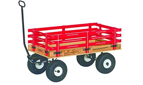 Amish-Made Rolling Delight Kid's Red Express Wagon, Model 1000
