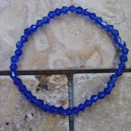 Bicone Minimalist Cobalt Dark Blue Crystal Glass Stretch Beaded Bracelet or Anklet, Custom Fit by BEADAISHAJEWELRY
