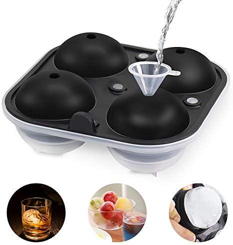 GoZheec Eiskugelform, 1 Stück Silikon Eiswürfelform für 4 runde 6.5CM Eiskugel LFGB Zertifiziert BPA Frei Eiswürfelschale mit einem Trichter Ice Ball Mold für Bier, Cocktails, Whisky(Schwarz-1 Pack)