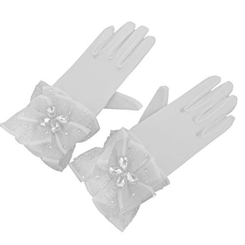 原子炉スキニー海外Dovewill 手袋 ブライダル 結婚式 パーティー ラインストーン チュール 手首の長さ 白い