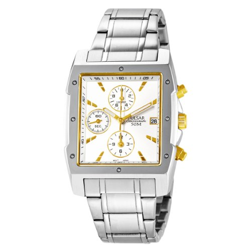 Chronograph Square Dial Watch (Pulsar Men's PF8341 Chronograph Square Silver Dial Stainless Steel Watch)