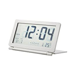 Travel Alarm Clock, Ultra-Slim Lightweight Foldable LCD Screen 5 Functions of Clock, Temperature, Date, Snooze, and Alarm, Free Leather Case(White)