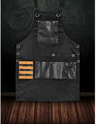 FORGICA Bib Apron Professional PU Leather Aprons for men Barber Apron for kitchen Salon Hairstylist - Multi-use, Adjustable size 8 pockets - Heavy Duty Premium Quality Aprons for Women - NY Edition