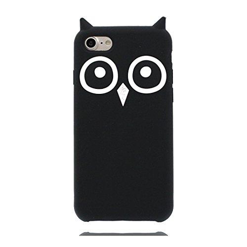 Apple iPhone 8 Plus Custodia, Owl Cartoon Case - Carino 3D Gufo Pelle Case Cover morbida in silicone Copertura per iPhone 8 Plus 5.5, Nero