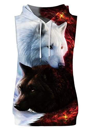 HOP FASHION Unisex Sleeveless Fox Print Hoodie Tank Tops Pullover Vest with Front Pockets (Print Two Pocket Vest)