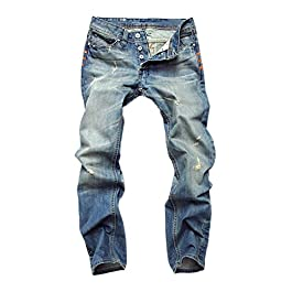 Men's Light Blue Relaxed Fit Ripped Jeans Broken Holes Denim Pants