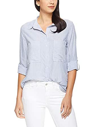 French Connection Women's Stripe Button Through Relaxed Shirt, Chambray/Summer Whit, Eight